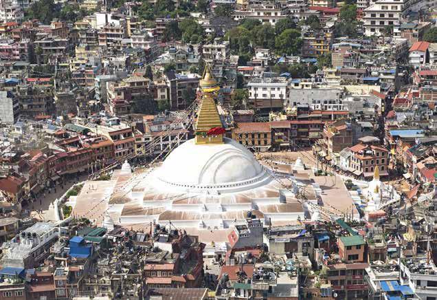 نمایی از بنای معروف بودانات در قلب شهر کاتماندو
