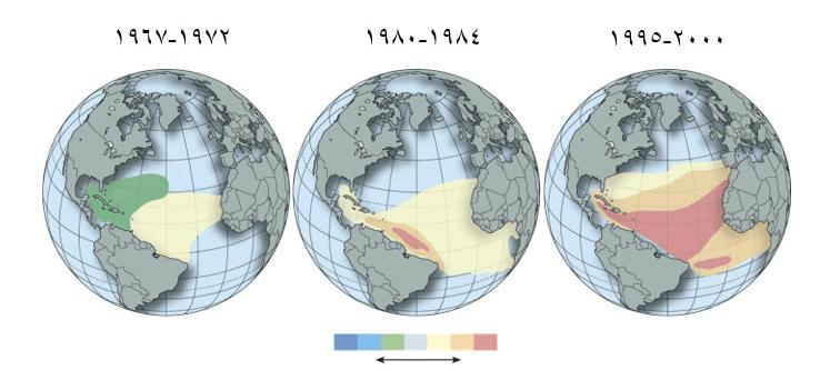 شکل:7 شوری حارهای در چهل سال گذشته افزایش یافته است