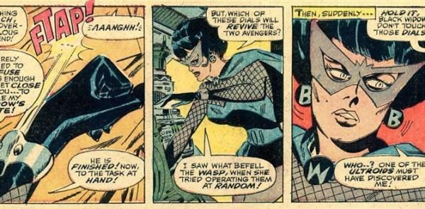 بلک ویدو در ابتدای حضورش در دنیای کمیک ظاهر متفاوتی داشت